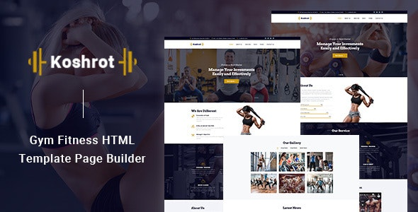 Koshrot Gym Fitness HTML Template with Page Builder