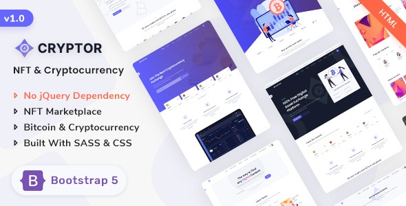cryptor nft marketplace & cryptocurrency ico landing template