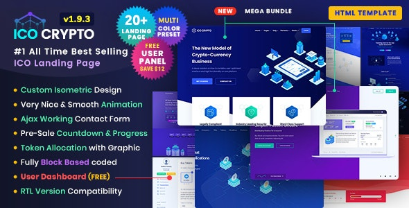 ico crypto bitcoin & cryptocurrency ico landing page html template + user dashboard