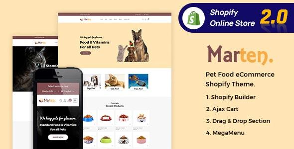 marten pet food, pet shop, animal care shopify theme