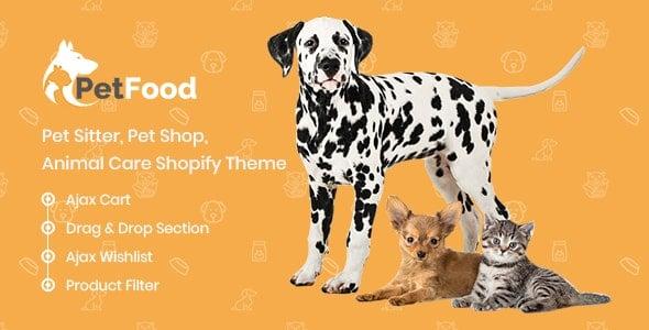 petfood pet care, pet sitter shopify theme