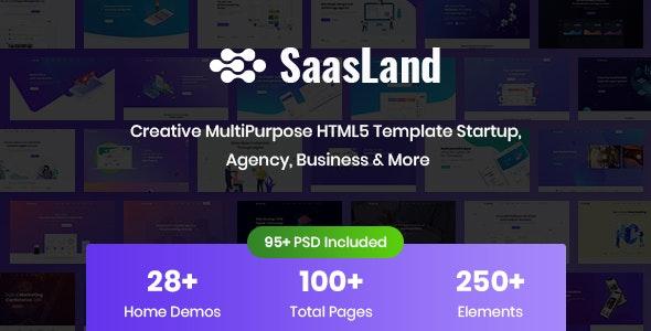 saasLand creative html5 template for saas, startup & agency