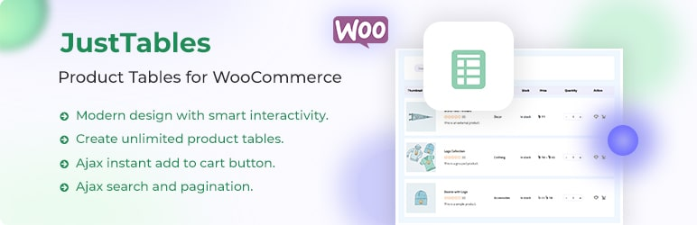 WooCommerce Product Table JustTables