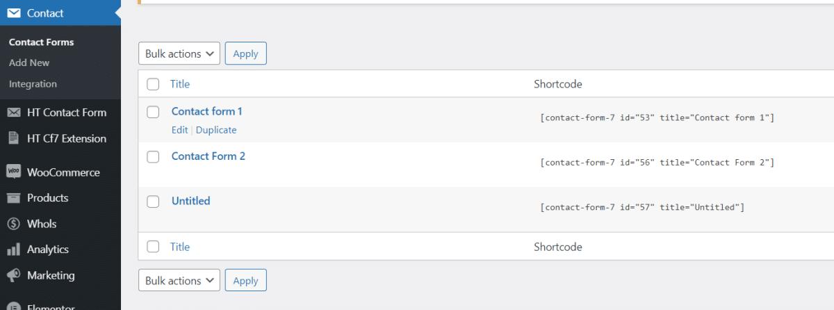 Install Contact Form 7 plugin
