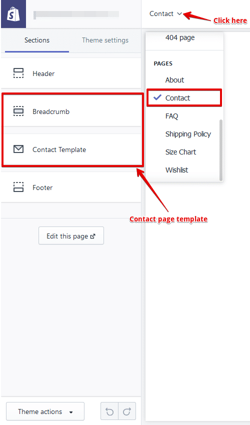customize shopify contact page