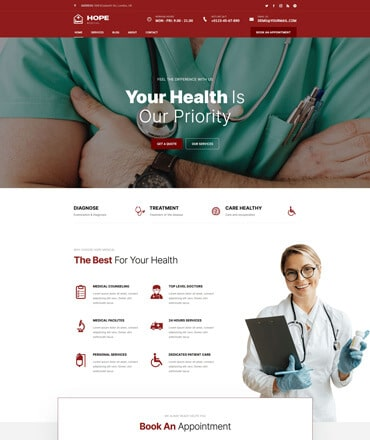 Hope - Health & Medical React JS Template
